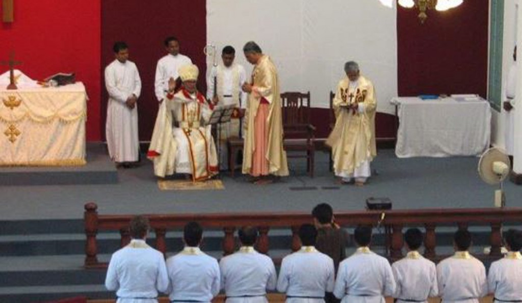 Believers Church ordination ceremony January 2013 at the Seminary in South India. His Eminence the Most Reverend Dr. KP Yohannan, Metropolitan Bishop Believers Church is seated.